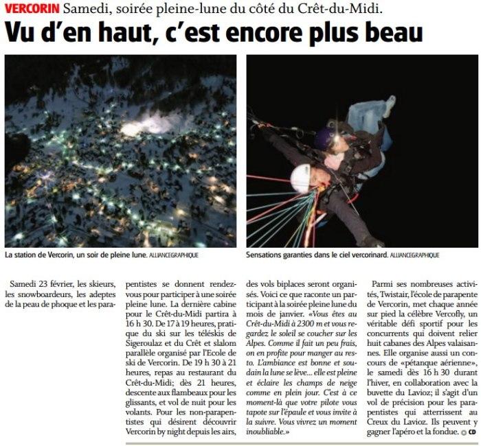 Article sur NF sur la soirée pleine-lune au Crêt-du-Midi ce samedi!